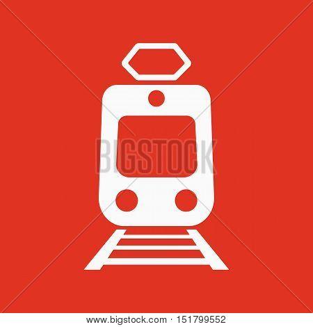 The train icon. Metro and tram, railroad symbol. Flat Vector illustration