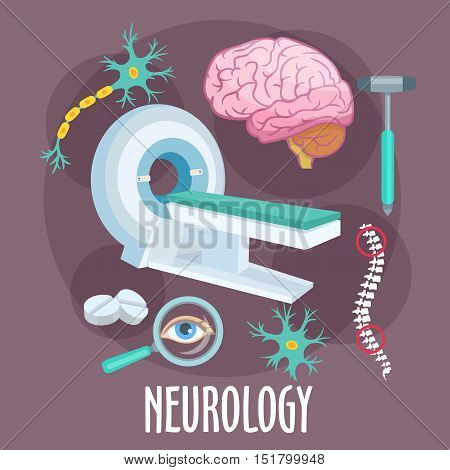 Neurological research of disorders of nervous system flat icon of MRI machine with human brain, dendrite and neuron structure models, spine, eye, pills and medical hammer. Healthcare theme design