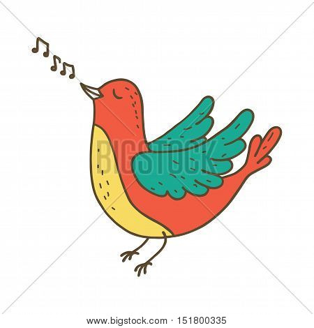 Cute little bird singing on white background. Vector illustration
