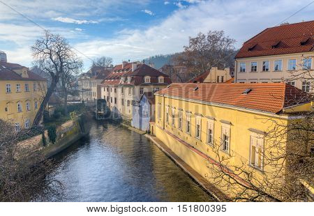 View of Certovka channel in Prague from Charles bridge, Czechia.