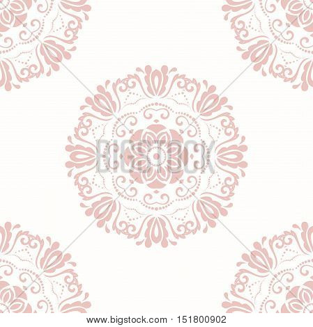 Seamless classic vector pink pattern. Traditional orient ornament