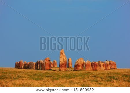 Ale stones (Ales stenar) is an anicient megalithic stone ship monument formed by 59 large boulders in the province of Scania in southern Sweden