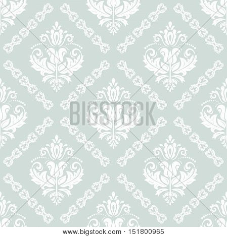 Seamless classic vector light blue and white pattern. Traditional orient ornament