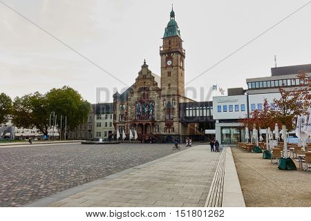 MOENCHENGLADBACH-RHEYDT, GERMANY - OCTOBER 13, 2016: Panoramic view on townhall and empty new marketplace