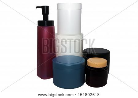 Collection of capacities from plastic various color. On a white background