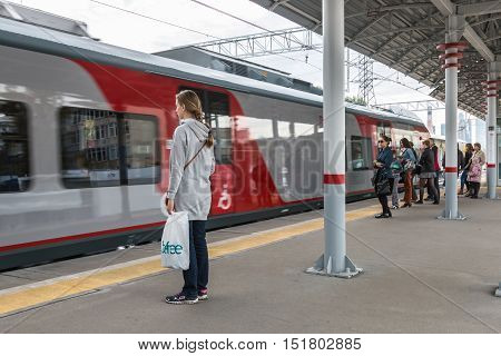 MOSCOW, RUSSIA - October 2, 2016: Moscow Central Circle or MCC. Built from 2013 till 2016 and opened to passengers on 10 September 2016. Khoroshyovo railway station