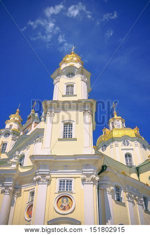 Front view of the Cathedral of the Dormition Pochayiv Lavra. The chamber bottom.