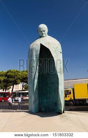 ROME - AUGUST 29 Artist Oliviero Rainaldi's statue of Pope John Paul II at Termini Station on August 29 2016 in Rome