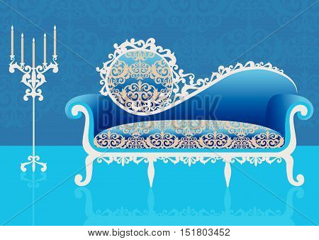 Blue sofa in an interior. Vector  illustration