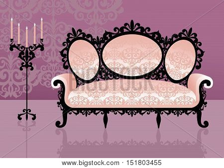 Pink sofa in an interior. Vector illustration
