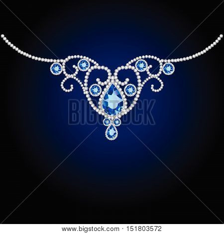 jewellery diamond decoration and sapphire. Vector  illustration