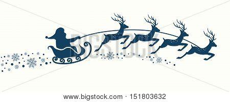 Santa Claus with Reindeer Sleigh. Vector illustration