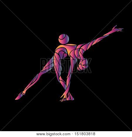 Creative silhouette of gymnastic girl. Art gymnastics with ball, vector illustration or banner template in trendy abstract colorful neon waves style on black background
