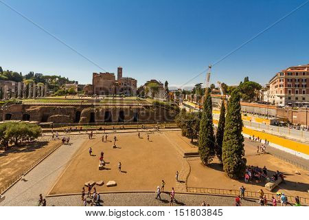 ROME - AUGUST 26: Looking towards the Roman Forum and Temple of Venus and Rome on August 26 2016 in Rome