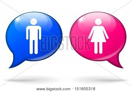 Illustration of male and female speech bubbles