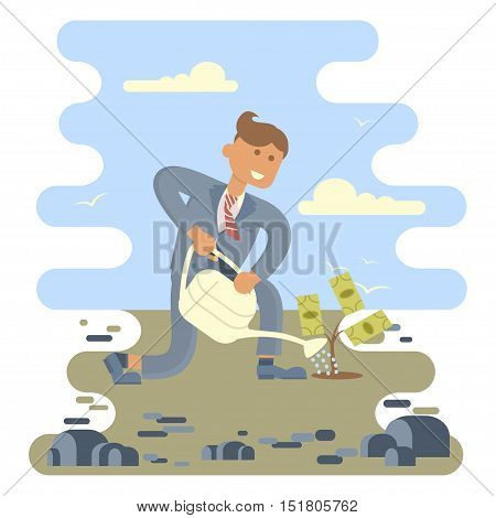 Businessman planting a money tree in the middle of the stones. Vector illustration business success concept. Character design.