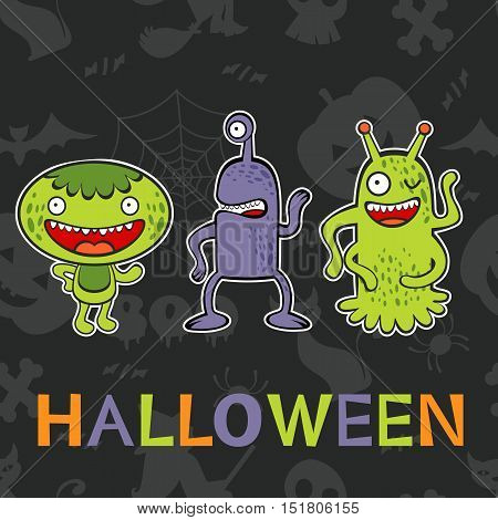Halloween card with three funny monsters. Illustration in vector format