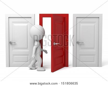 The 3d guy are going through the door