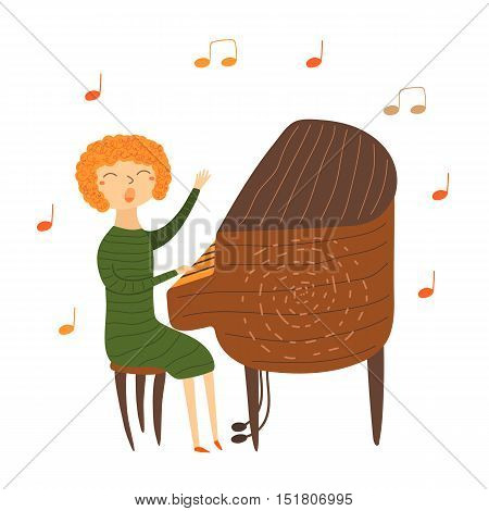 Cute hand drawn card postcard with music teacher playing piano. Red haired woman sitting on chair and singing. Background for musical school classes education.