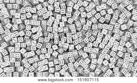 3D rendering of white dice forming a wall