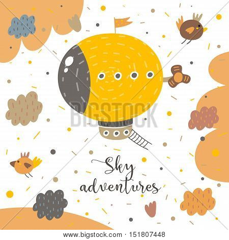 Cute hand drawn postcard with zeppelin birds clouds sky ladder propeller polka dots abstract elements. Sky adventures background for children. Baby shower cover in cartoon style