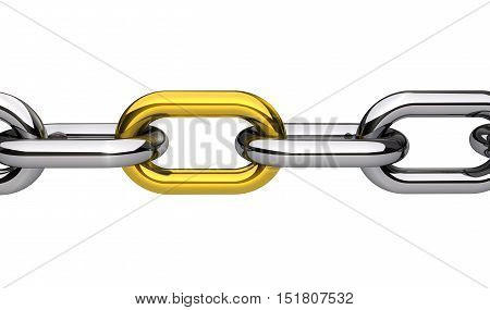 Chain with a gold link closeup business concept 3D illustration isolated on white background.
