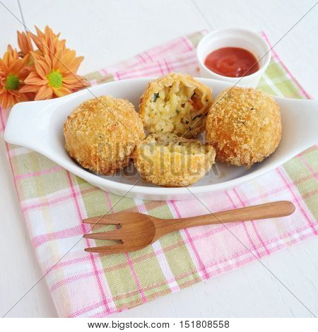 Fresh baked homemade fried meatball on the table