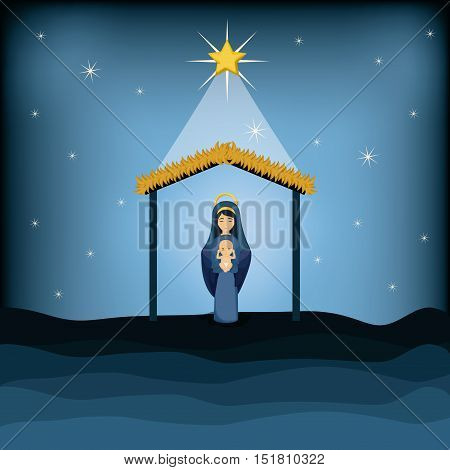 Mary and baby jesus cartoon icon. Holy family and merry christmas season theme. Colorful design. Vector illustration