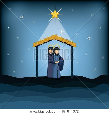 Jesus god and joseph cartoon icon. Holy family and merry christmas season theme. Colorful design. Vector illustration