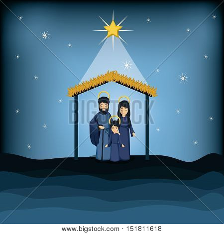 Jesus kid joseph and mary cartoon icon. Holy family and merry christmas season theme. Colorful design. Vector illustration