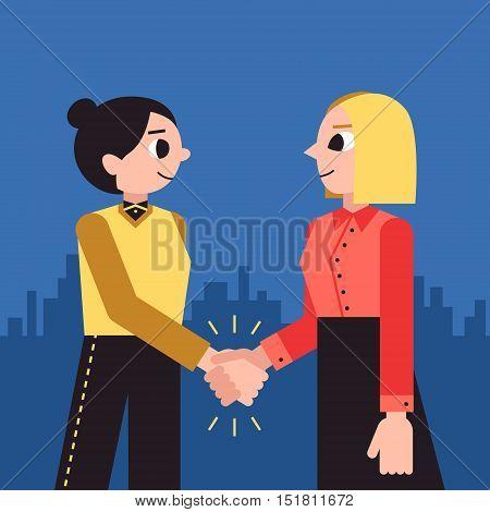 Woman shaking hands vector background. Female handshake cartoon minimal style.