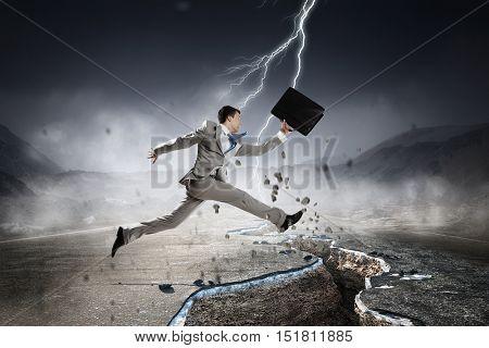 Overcome crisis break . Mixed media