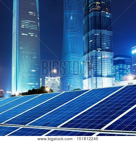 Shanghai China skyscrapers and cities photovoltaic panels.