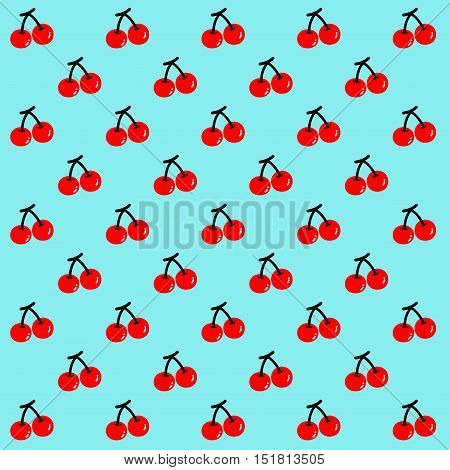 CHERRY Two red cherries are set as a pattern on the light blue background.