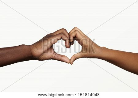 Two Young Dark-skinned People Holding Hands In Shape Of Heart, Symbolizing Love, Peace And Unity. Af