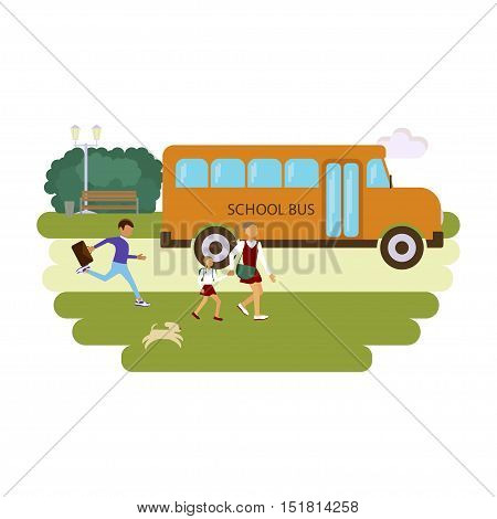 Back to school concept. Pupils in different poses going to the bus. Vector illustration of student children in flat design. Isolated on white background. eps10