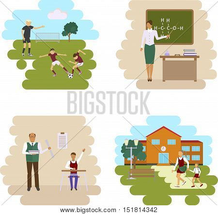 Back to scool concept. Set of Isolated illustrations of school building, stadium and class room with students children in flat design. Teachers and pupils in different poses. Vector eps1