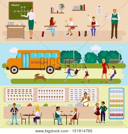 Back to scool concept. Set of Isolated illustrations of school bus, dining-hall, class room with students children in flat design. Teachers and pupils in different poses. Vector eps10