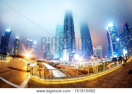 City scene of shanghai at night China