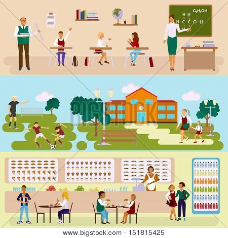 Set of Isolated illustrations of school building, dining-hall, stadium and class room with students children in flat design. Teachers and pupils in different poses. Vector eps10