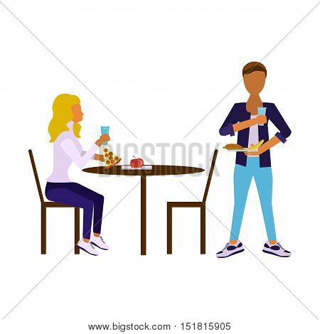 Illustration of school dining-hall with students children boy and girl. Pair of pupils in modern flat design Isolated on white background. Vector eps10