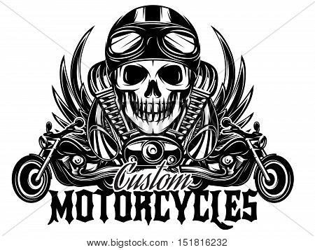 vector monochrome image on a motorcycle theme with skulls motorcycles wings engine