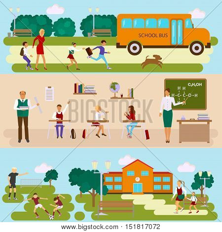 Set of Isolated illustrations of school building, bus, stadium and class room with students children in flat design. Teachers and schoolchildren in different poses on lessons and on the way to school. Vector eps10