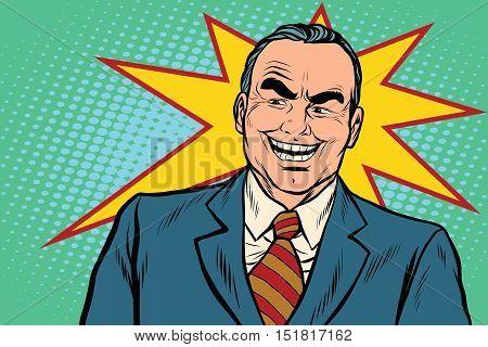 Evil boss laughs, pop art retro vector illustration