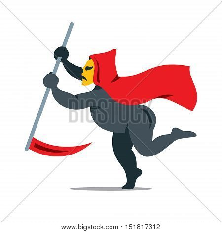 Angel with scythe. Isolated on a white Background