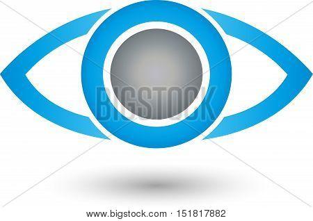 Eye in blue, security, eye doctor and eye logo
