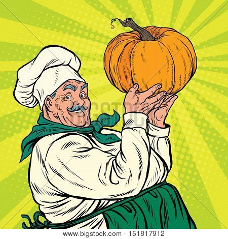 Retro cook with pumpkin, thanksgiving. pop art vector illustration