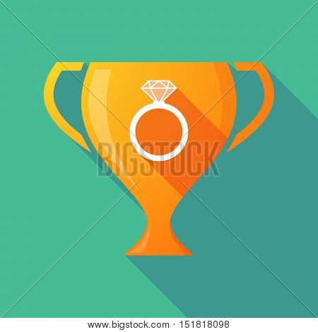 Long Shadow Gold Award Cup With An Engagement Ring