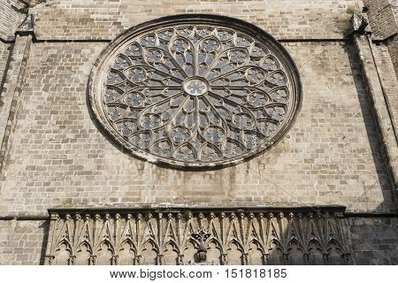 Barcelona (Catalunya Spain): facade of Santa Maria del Pi gothic church