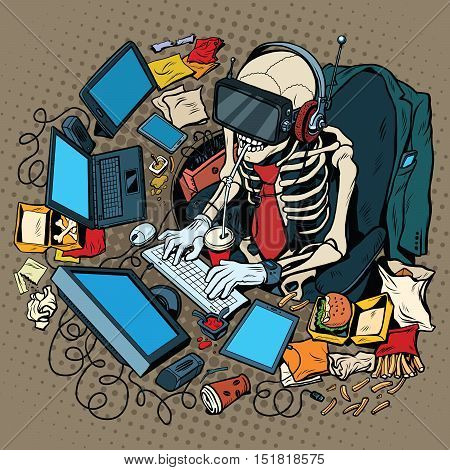 The skeleton programmer in virtual reality, pop art retro vector illustration. Work on the computer and games. Humorous concept of engagement in new technologies